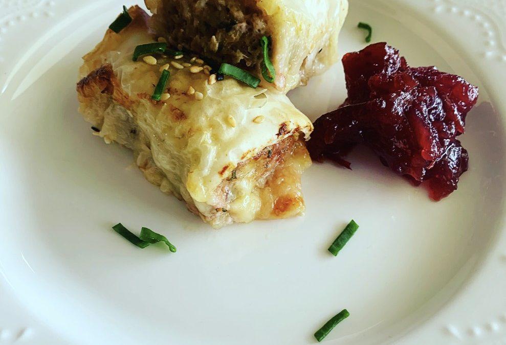 Turkey, Cranberry & Brie Sausage Rolls