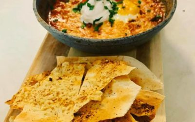 Mexican Baked Eggs with Mountain Bread Dippers